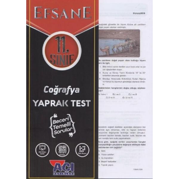 Açı Yayınları 11. Sınıf EFSANE Coğrafya Çek Kopart Yaprak Test